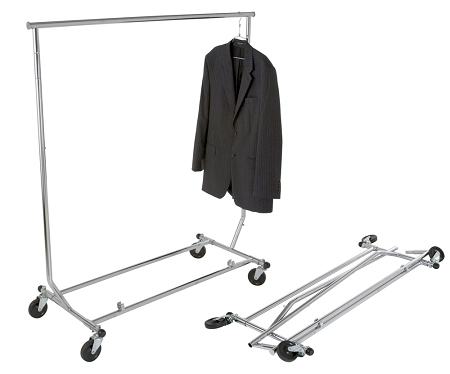 Rental Flip and Fold Portable Garment Rack with 25 Metal Hangers